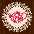 Stock vektor: Retro heart teapot on lace napkin