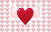 Valentine day heart with angel wings — Stock Vector