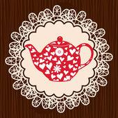 Retro heart teapot — Stock Vector