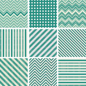 Set of retro turquoise and faded grey geometric seamless patterns — Stock Vector