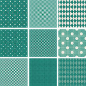 Set of retro turquoise patterns — Stock Vector