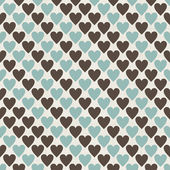 Brown, blue and grey retro seamless hearts pattern in vector — Stock Vector