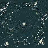 Zodiac constellations and space seamless pattern — Vector de stock