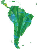 Green map of south america — Stock Vector
