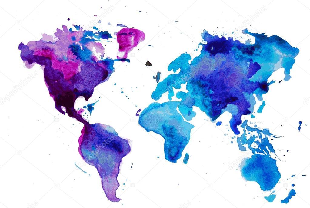 水彩的世界地图 — 图库矢量图像08