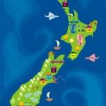Cartoon map of new zeland — Stock Vector #6561535