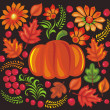 Pumpkin, leaves and flower pattern — Stock fotografie #6704140