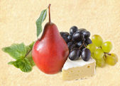 Cheese and fruits. — Stock Photo