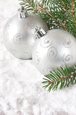 Silver baubles. — Stock Photo