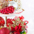 Cupcake stand with christmas decorations. — Stock Photo