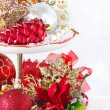 Stock Photo: Cupcake stand with christmas decorations.