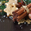 Christmas composition with spices. — Stock Photo