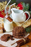 Christmas cookies and milk. — Stock Photo