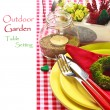Outdoor garden table setting. - Foto Stock
