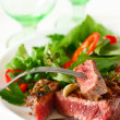 Grilled beef steak and salad. — Stock Photo