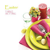 Easter table setting. — Stok fotoğraf