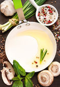 Pan and food ingredients. — Stock Photo