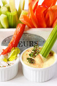 Vegetables and dip. — Stock Photo