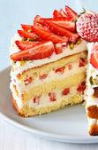 çilekli pasta. — Stok fotoğraf