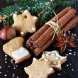 Christmas composition with cookies and spices. — Stock Photo