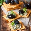 Blue cheese crackers. — Stock Photo