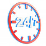 24-7 twenty four hour seven days a week emblem icon — Stock Photo