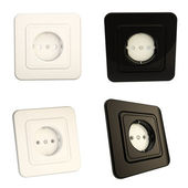 Glossy socket black and white options, set of four — Stock Photo