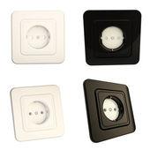Options de socket brillant noir et blanc, ensemble de quatre — Photo