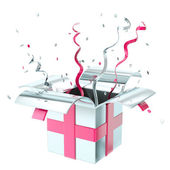 Holiday gift box with confetti and serpentine — Stock Photo