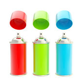 RGB colored spray oil color cylinders isolated — Stock Photo