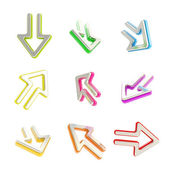 Arrow dimensional icons, set of nine positions — Stock Photo