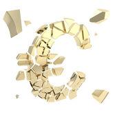 Euro symbol breaking into small shiny golden glossy pieces — Stock Photo