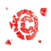 Copyright symbol broken into pieces isolated — Stock Photo