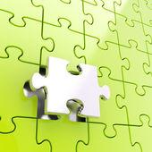 Puzzle fondo rompecabezas con una sola pieza destacan — Foto de Stock