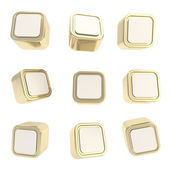 Cubic square buttons, set of nine isolated on white — Stock Photo