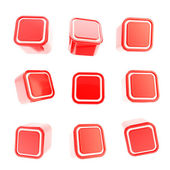 Cubic square buttons, set of nine isolated on white — Stockfoto