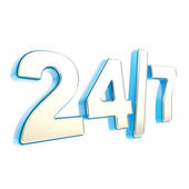 24-7 twenty four hour seven days a week emblem icon — Stock Photo
