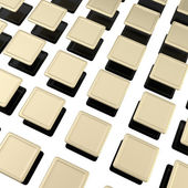 Golden metal plates over black ones as background — Stock Photo