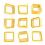 copyspace krychle čtvercová police boxy, samostatný — Stock fotografie