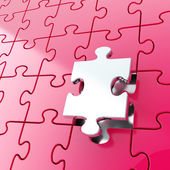 Puzzle jigsaw background with one piece stand out — Stock Photo