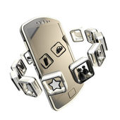 Smartphone surrounded with symbolic app icon emblems — Stock Photo