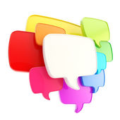 Cloud of speech text bubbles as copyspace plate isolated — Foto Stock