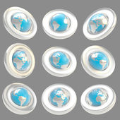 Earth globe emblem tag in nine foreshortening — Stock Photo