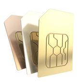Trois cartes sim de téléphone avec les puces de circuit isolés — Photo