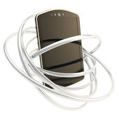 Smart phone concept surrounded with rings isolated — 图库照片