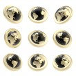Earth globe emblem tag in nine foreshortening — Stock Photo #12670255