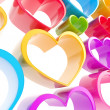 Colorful glossy heart composition as abstract background — Stock Photo