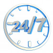 Stock Photo: 24-7 twenty four hour seven days week emblem icon