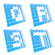 Royalty-Free Stock Photo: Abc letter symbol plates made of blue cubes isolated