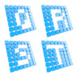Abc letter symbol plates made of blue cubes isolated - Stock Photo